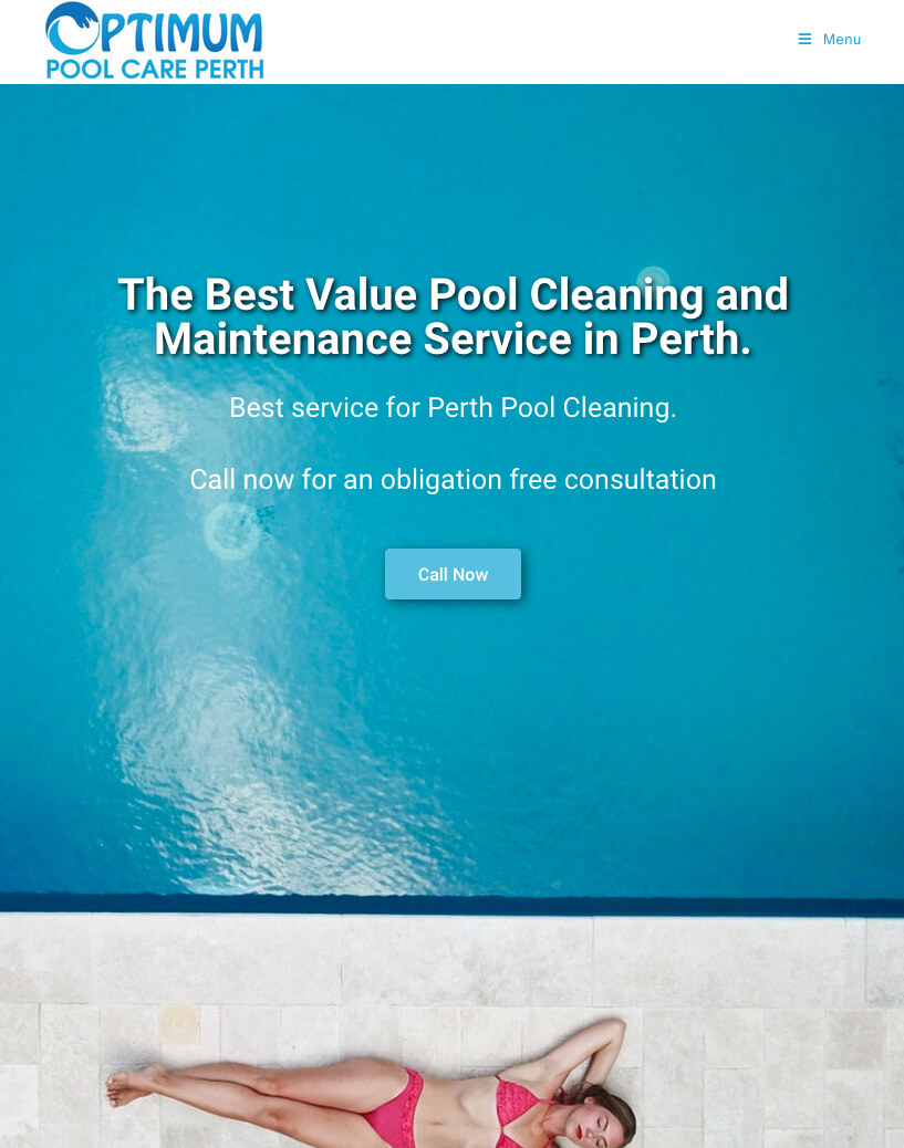 Optimum Pool Care Website Image